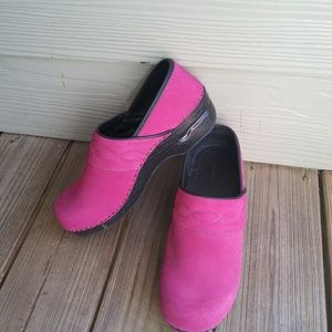 Lands' End Pink Stapled Clogs Suede Shoes Sz 10